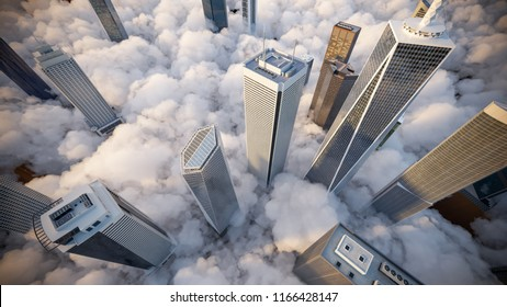 Skyscrapers above the clouds at sunrise. 3d Illustration.