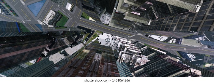 Skyscrapers from above, modern buildings view from height, abstraction, 3d rendering