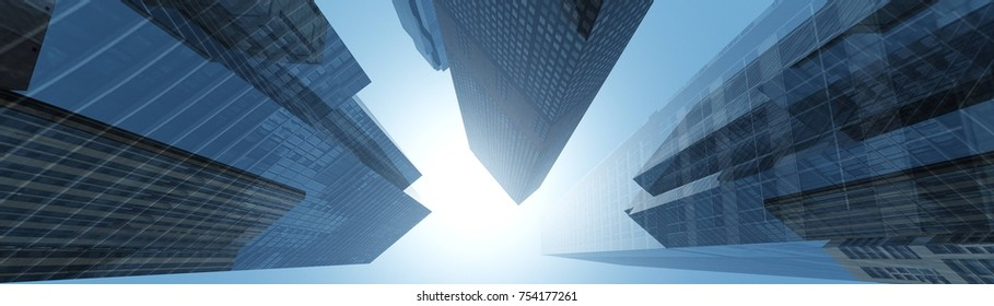 skyscrapers against the clouds, modern buildings view from below, banner, 3D rendering