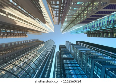 Skyscrapers against the sky, 3d illustration vertically upwards
