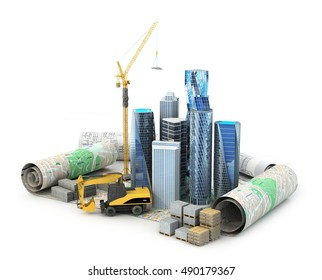 Skyscrapers, building materials, high-rise faucet and an escalator located on drawings and projects. 3D illustration