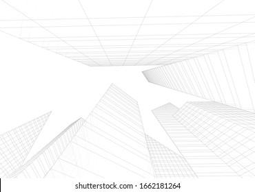 Skyscrapers city architecture 3d illustration