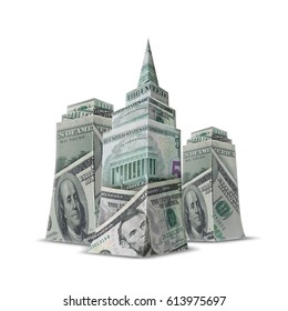 Skyscrapers made of banknotes. Skyscraper buildings made from one hundred dollar money banknotes, isolated on white background. 3D illustration.