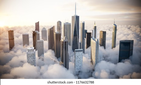 Skyscrapers over the clouds. 3d Illustration.