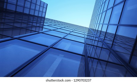 Skyscrapers with reflections. Glass and metall office buildings. 3d illustration