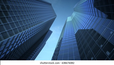 Skyscrappers in the blue sky with reflections. Glass and metall.3d illustration