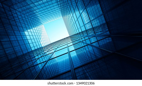 Skyscrappers with reflections. Glass and metall office buildings - 3d illustration