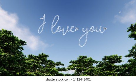 Skywriter writing the words I love you in the blue sky 3D rendering
