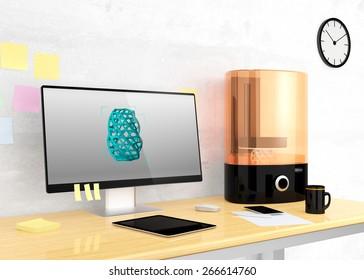 SLA  3D printer and desktop computer on a table