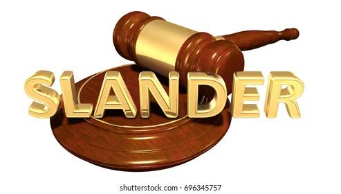 Slander Legal Gavel Concept 3D Illustration