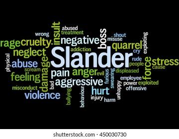 Slander, word cloud concept on black background.