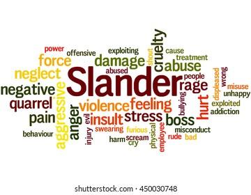 Slander, word cloud concept on white background.