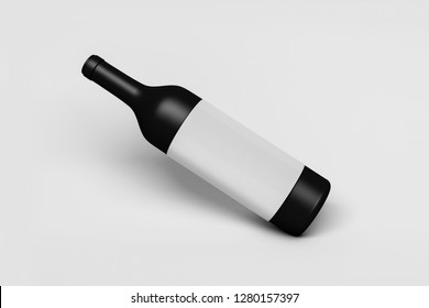 Slanted Wine Bottle with label on soft gray background.3D rendering