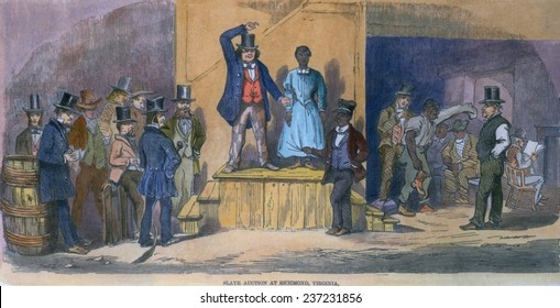 Slave auction in Richmond Virginia in 1856 A women stands alone as bids are offered, 1856 engraving with modern color.