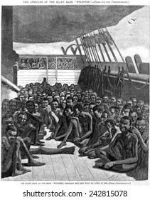 The slave deck of the ship 'Wildfire', captured transporting slaves 510 captives, from Africa to the Caribbean. Wood engraving after daguerreotype made in Key West on April 30, 1860.