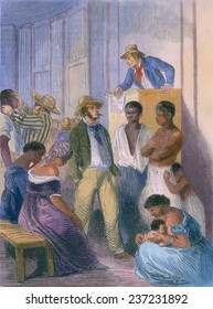 Slave market in the United States in the 1850s There was a vigorous internal slave trade with wealthy traders who transported slaves to the newly opened lands west of the Mississippi river.