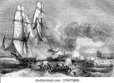 Slave ship fleeing cruisers and throwing his slaves to the sea, vintage engraved illustration. Magasin Pittoresque 1844.