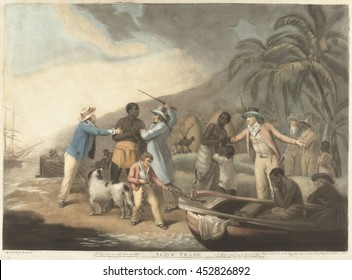 Slave Trade, by John Raphael Smith, after George Morland, 1762-12, British print. The print's caption reads: Lo the poor Captive with distraction wild, Views his dear Partner torn from his embrace; A
