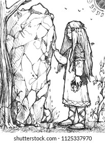 Slavic girl in traditional clothes. The girl is near the stone. Fast pen sketch style.