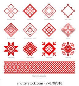 Slavic red and Belarusian national symbol, ornament. Embroidery