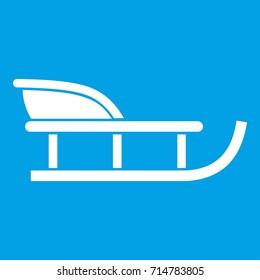 Sled icon white isolated on blue background  illustration