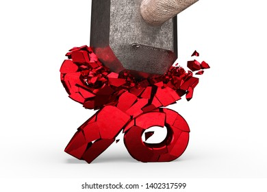 Sledgehammer smashing red percentage sign cracked, isolated on white background, 3D illustration.