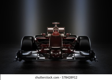 Sleek team motor sports racing car with studio lighting. 3d rendering illustration