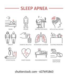 Sleep Apnea. Symptoms, Treatment. Line icons set. Signs for web graphics.