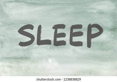 sleep concept word written on a watercolor texture background