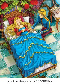 The sleeping beauty -  Prince or princess - castles - knights and fairies - illustration for the children