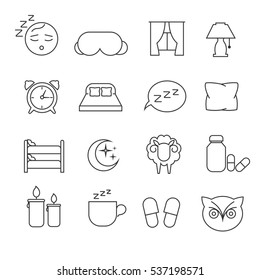 Sleeping bed time rest thin line outline icons. Dream and bedtime, sheep and mask for sleep illustration.