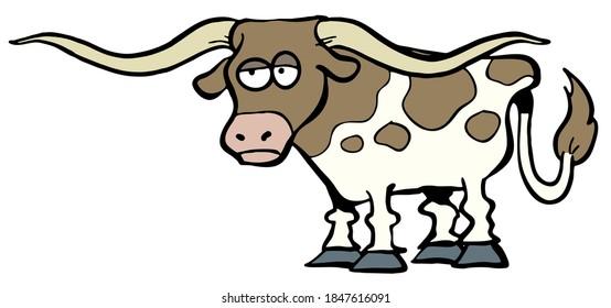 dessin animé sur la vache longhorn du Texas