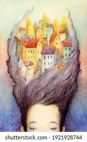 A sleeping girl with an old town in her hair. Watercolor illustration