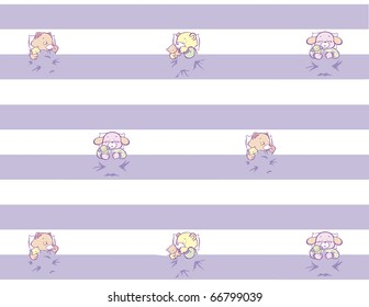 """Sleeping Kitten, Puppy, Teddy in Striped Pattern Full Color This image also available as vector art. Please search under """"vector only""""."""