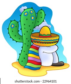Sleeping Mexican - color illustration.