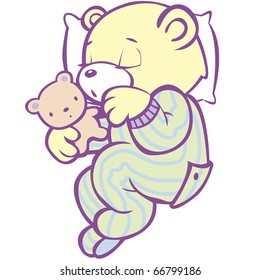 """Sleeping Teddy Bear in Striped Pajamas This image also available as vector art. Please search under """"vector only""""."""