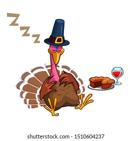 Sleeping turkey after good meal with pie and glass of red vine. Thanksgiving illustration
