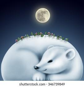 sleeping white bear