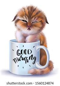 Sleepy little kitten near white coffee cup.