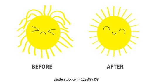Sleepy Wake up sun shining icon set. Before After. Kawaii face with different emotions. Cute cartoon funny sad happy character. Hello summer. White background. Baby collection. Flat design