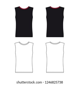 Sleeveless t-shirt outlined template (front & back view),  illustration isolated on white