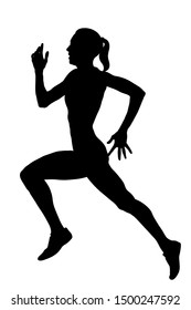 slender female athlete runner running black silhouette