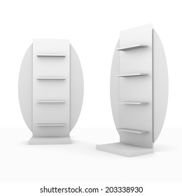 slender white shelves fron front and side with circular wings