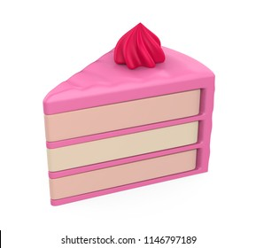 Slice of Cake Isolated. 3D rendering