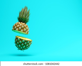 slice pineapple on blue background 3D rendering