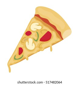 Slice of pizza icon in cartoon style isolated on white background. Pizza and pizzeria symbol stock rastr illustration.