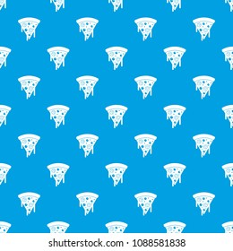 Slice of pizza with salami and melted cheese pattern repeat seamless in blue color for any design. geometric illustration