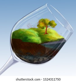 Slice of planet in glass