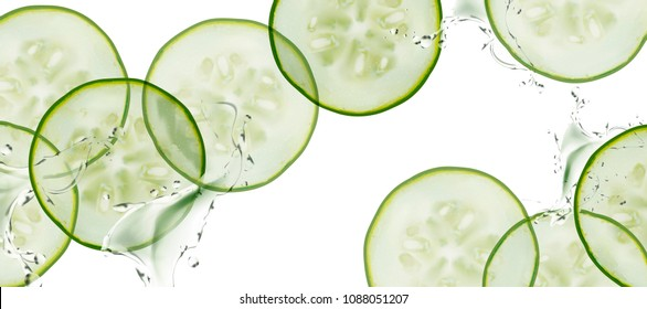 Sliced cucumber with splashing water on white background in 3d illustration