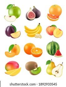 Sliced fruits. Vegetarian food agriculture objects plum orange banana pear kiwi apricot apple orange realistic